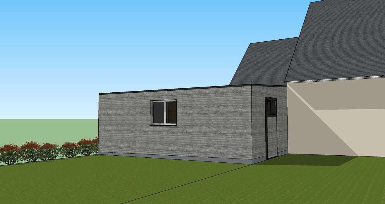 Projet d''extension - Abri de jardin et carport accolé à la maison -Évellys (56) 0